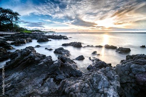 Poster Cote Sunset at Anaehoomalu Beach in Big Island, Hawaii