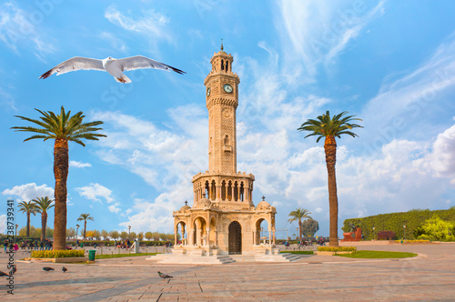Poster Artistic monument Izmir clock tower. The famous clock tower became the symbol of Izmir