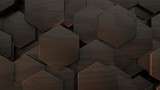 3D illustration of abstract futuristic background from many different hexagons, honeycomb wood, idea for screensaver and background. 3D rendering. - 238739946