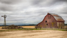 Old Red Barn In The Field