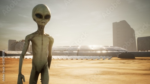 Tuinposter UFO Alien returns to base after inspecting solar panels. Super realistic concept. 3D Rendering