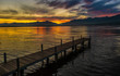 Stunning sunset on the shores of the Upper Zurich Lake near Rapperswil, Switzerland