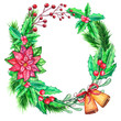 Watercolor colorful floral greeting decoration wreath