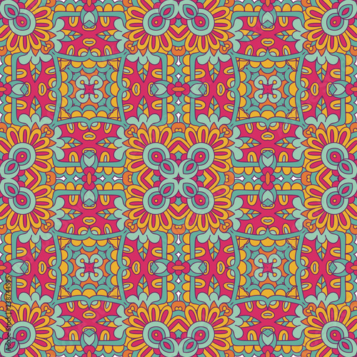 Tribal Indian Ethnic Seamless Design Festive Colorful Tiled