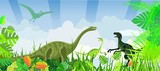 Fototapeta Dinusie - dinosaurs of jurassic time, prehistoric life animals and landscape, vector illustration