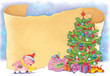 Christmas. New Year 2019. Greeting card. Poster. Illustration for children. Cute and funny cartoon characters.