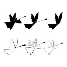 Angels Abstract Silhouette. Biblical Personage. Religion Symbol Christmas Season, Holiday Easter And Love. Monochrome Template For Printed, Banner, Greeting Card. Design Element. Vector Illustration.