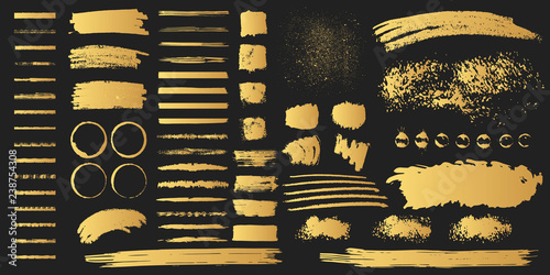 Canvas Print Big collection of hand drawn golden grunge torn box shapes