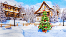 Decorative Watercolor Winter Landscape With Decorated Christmas Tree On Square Of Cozy Snowbound Alpine Mountain Township With Half-timbered Houses. Digital Art Painting.