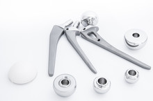 Surgical Artificial Dentures For Hip Bone Made Of Stainless Steel In White Background In Close Up View