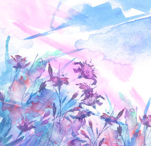Watercolor Bouquet Of Blue Flowers, Beautiful Abstract Splash Of Paint, Fashion Illustration.Blue, Pink, Purple  Cornflower, Iris, Wildflowers, Field Or Garden Flowers. Watercolor Abstract.