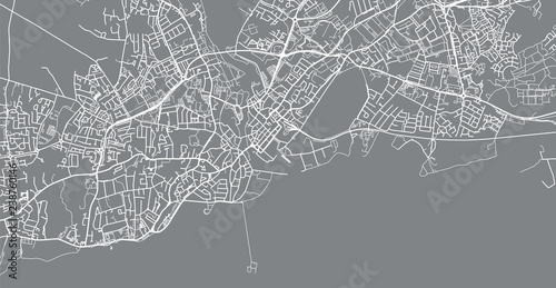 Urban vector city map of Galway, Ireland Canvas Print