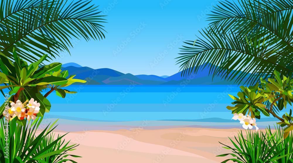 Fototapety, obrazy: beautiful cartoon coast of the azure sea with tropical plants