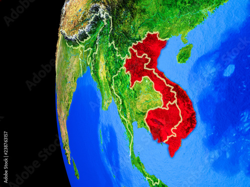 Foto  Indochina from space on realistic model of planet Earth with country borders and detailed planet surface