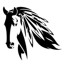 Wild Mustang Horse With Feathers In Mane - Native American Spirit Animal Black And White Vector Design