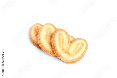 Papiers peints Palmier Puff pastry ears isolated on white background