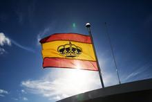 Spanish Flag On Blue Sky