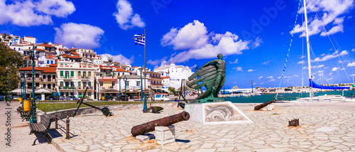 Greece, popular Skopelos island. Old port. Sporades