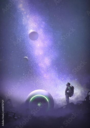 astronaut on abandoned planet looking up at the starry sky, digital art style, illustration painting