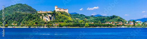 beautiful lakes of Italy - Scenic Lago Maggiore, view of Rocca di Angera Canvas Print