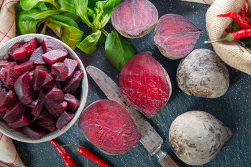 homemade raw beetroot salad in small bowl