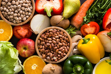 Healthy eating. Mediterranean diet. Fruit,vegetables, grain, nuts olive oil and fish background