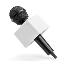 Close-up Of Black Wireless Microphone Isolated On White Background