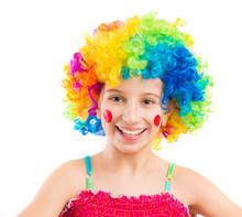 Funny Little Girl In Clown Wig...