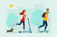 Happy Young Man Riding A Skateboard,  Young Woman Rides On A Scooter And Dog. Vector Flat Style  Illustration.