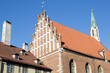 View of the Saint John's Church bell tower in the old town of Riga, Latvia