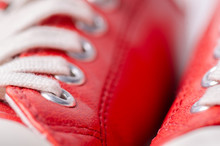 Red Leather Sneakers Shoes Laces Macro Blur Background