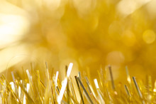 Gold Tinsel Christmas New Year Sparkles Macro Blur Background