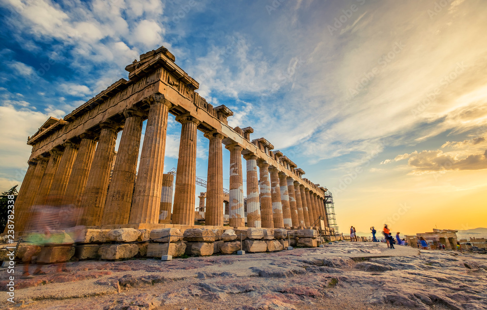Fototapeta Low angle perspective of columns of the Parthenon at sunset, Acropolis, Athens