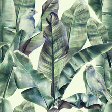 Seamless Pattern With Banana Leaves And Exotic Birds On A Gentle Beige Background. Tropical Background In Tinted Green Colors For Fabrics, Wallpapers, Textiles. Illustration With Colored Pencils.