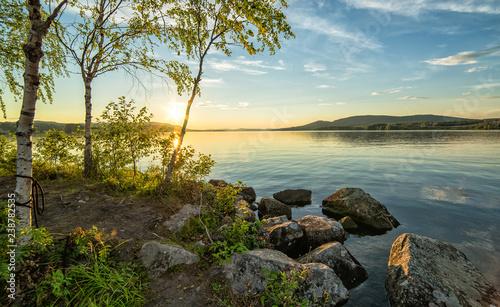 Foto auf Leinwand Skandinavien Beautiful summer lake scenery at evening