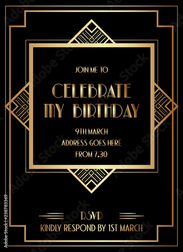 Gatsby Art Deco Birthday Invitation Design Buy This Stock