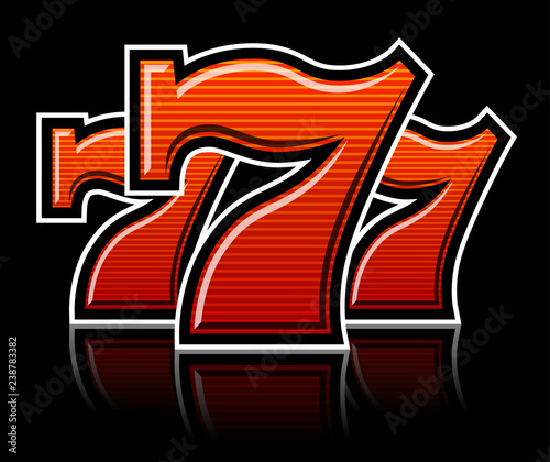 Photographie  Triple Lucky striped Sevens vector illustration