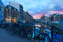 Scenic View Of The Singel Canal During Sunset,  Amsterdam, Netherlands.
