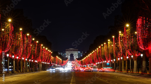 Fotografie, Obraz  Paris, France - December 13, 2018: Champs Elysees with Christmas lights in Paris