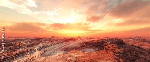 Foto auf AluDibond Rotglühen Mars at sunset, sandstorm on Mars, sunrise on Mars, 3d rendering