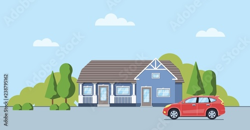 Foto auf AluDibond Licht blau Living house with trees and bushes. Cottage with car in the flat style. Real estate concept. Neighborhood with cityscape background. Vector illustration.