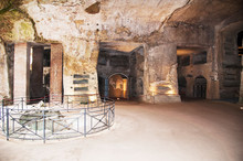 Ancient Tombs Dug In The Tuff Rock In The Subsoil Of Naples (Italy) Called Catacombs Of San Gennaro.