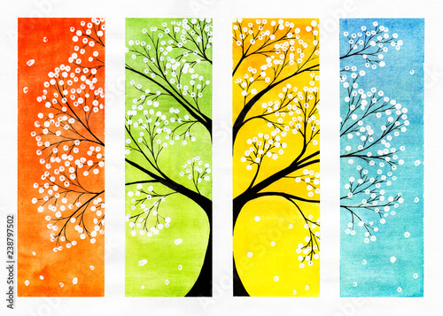 Fotografie, Tablou  on a colorful watercolor background tree with white sakura