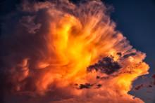 Beautiful Sunlit Orange Clouds Piled High