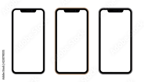 Photo  Silver, gold and black phone concept with blank screen isolated on isolated background