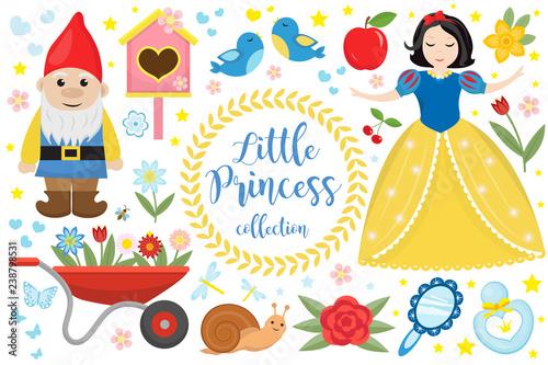 Śliczne bajkowe księżniczki Królewna Śnieżka zestaw obiektów. Element projektu kolekcji z małą ładną dziewczyną, krasnal, jabłko, kwiaty, ptaki. Dzieci dziecko clipart zabawny uśmiechnięty charakter. Ilustracji wektorowych