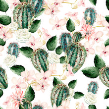 Watercolor Pattern With Cactus, Rose And Orchids .