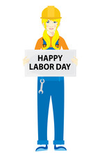 Happy Labor Day Banner Woman