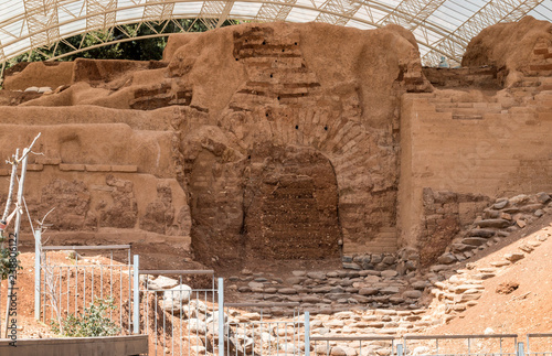 The Canaanite gate Gate of the three arches in Tel Dan, Israel Canvas Print