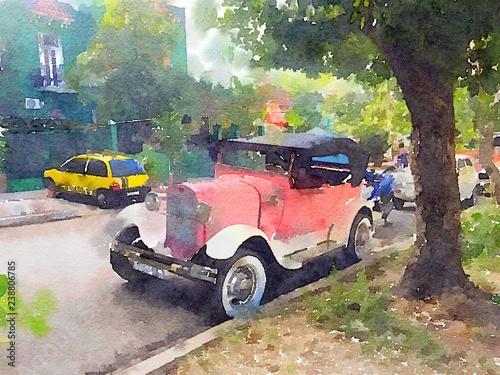 vintage-klasyczny-samochod-w-hawanie